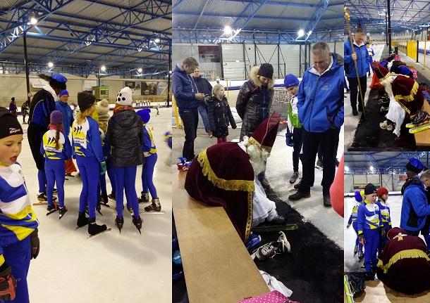 Schaatsende Sinterklaas bij schaatstraining